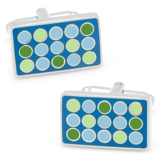 Silverplated Blue and Green Polka Dot Rectangle Cufflinks