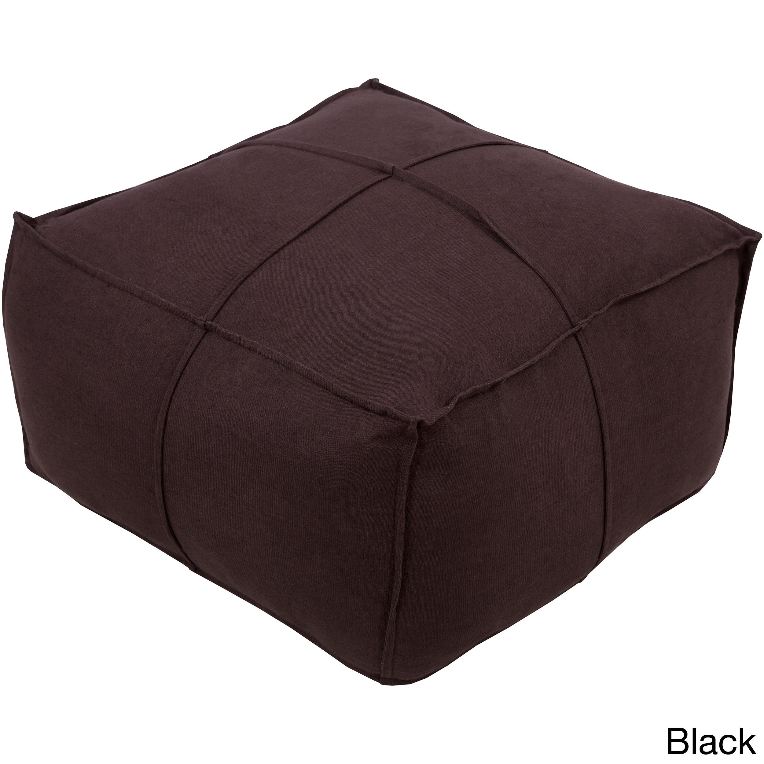 SURYA Solid Cleo Square Linen 24-inch Pouf (Black), Size ...