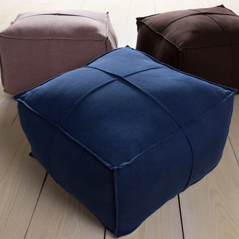 Solid Cleo Square Linen 24-inch Pouf