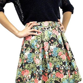 Relished Women's Black Floral Fixation Skirt
