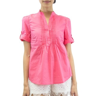 Relished Women's Anastasia Cotton Coral Blouse