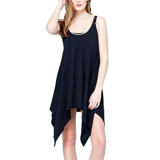Women's Black/ White Asymmetrical Sleeveless Dress