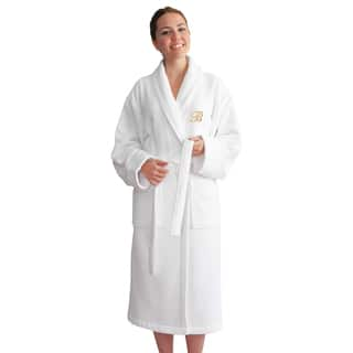 Authentic Hotel and Spa Unisex Gold Monogrammed Turkish Cotton Waffle Weave Terry Bath Robe|https://ak1.ostkcdn.com/images/products/10565496/P17643196.jpg?impolicy=medium