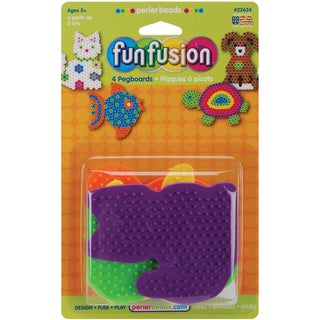 Perler Fun Fusion Pegboards 4/PkgDog/Fish/Cat/Turtle