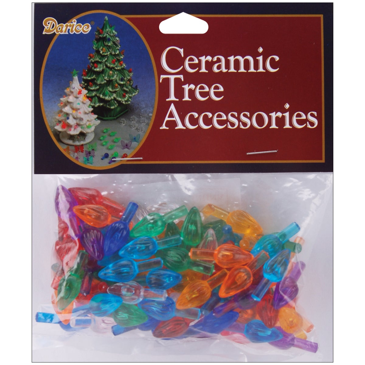 DARICE Ceramic Christmas Tree Bulbs .625in 100/PkgFlame M...