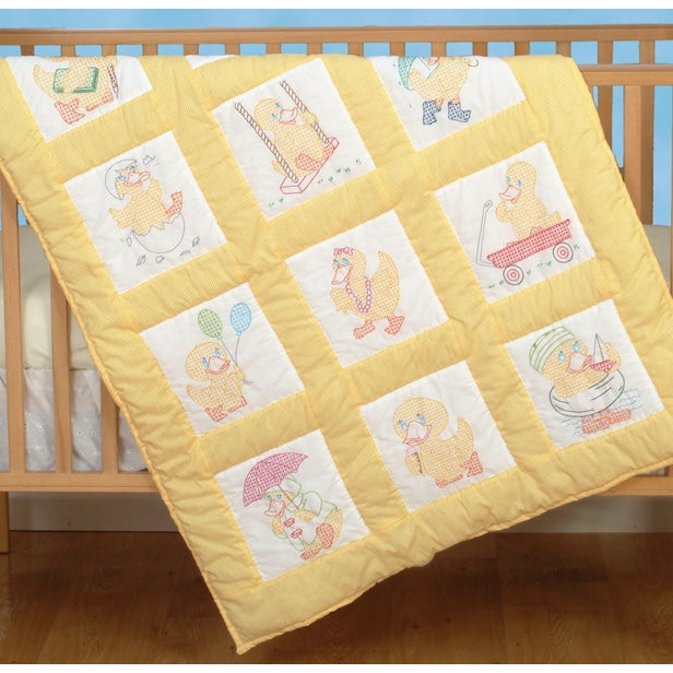 Jack Dempsey Stamped White Nursery Quilt Blocks 9inX9in 1...