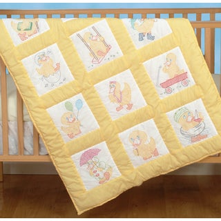 Stamped White Nursery Quilt Blocks 9inX9in 12/PkgBaby Ducks