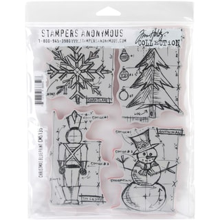 Tim Holtz Cling Rubber Stamp Set 7inX8.5inChristmas Blueprint