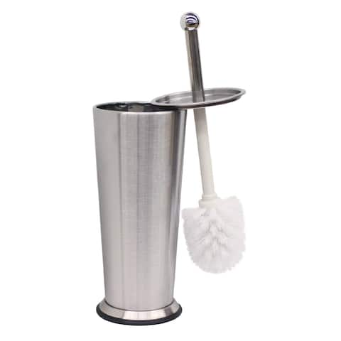 Home Basics Brushed Stainless Steel Tapered Toilet Brush Holder