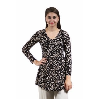 24/7 Comfort Apparel Women's Cream&Black Swirled Print Tunic