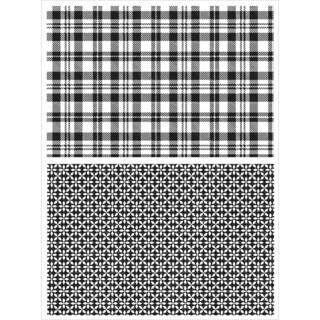 Tim Holtz Cling Rubber Stamp Set 7inX8.5inPlaid & Nordic