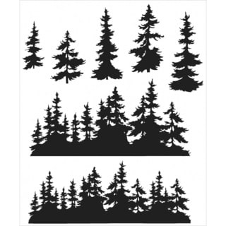 Tim Holtz Cling Rubber Stamp Set 7inX8.5inTree Line