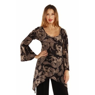 24/7 Comfort Apparel Women's Autumn Floral Printed High-Low Tunic