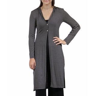24/7 Comfort Apparel Women's Striped Knee-Length Shrug