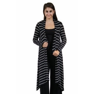 24/7 Comfort Apparel Women's Flowing Long Sleeve Striped Shrug