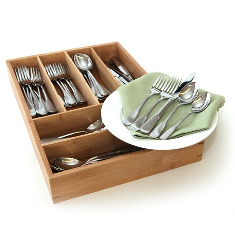 Oneida Colonial Boston 65-piece Silverware Set with Bamboo Storage Caddy (Service for 12)
