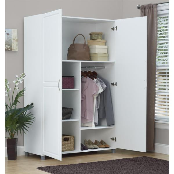 altra systembuild white kendall 48 inch wardrobe storage cabinet