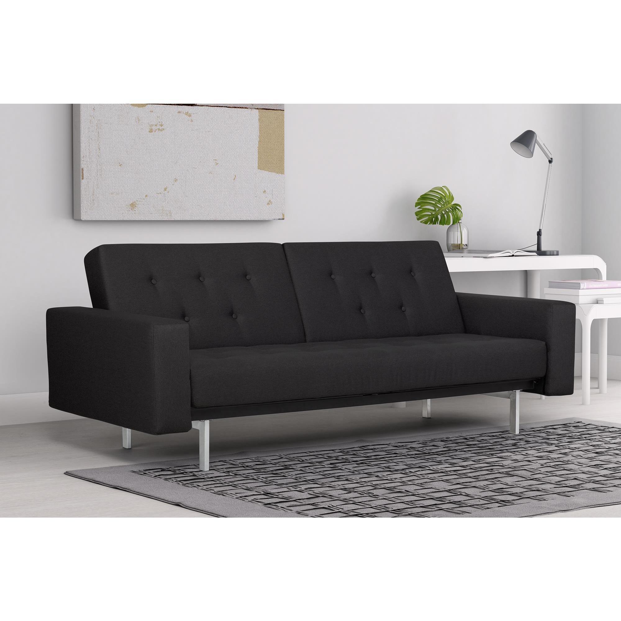 DHP Black Premium City Linen Queen Futon (Futon, black)