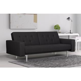 DHP Black Premium City Linen Queen Futon