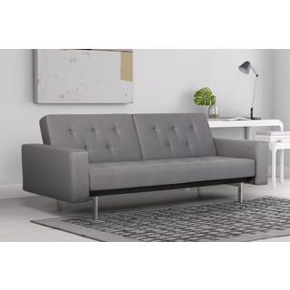 DHP Light Grey Premium City Linen Queen Futon