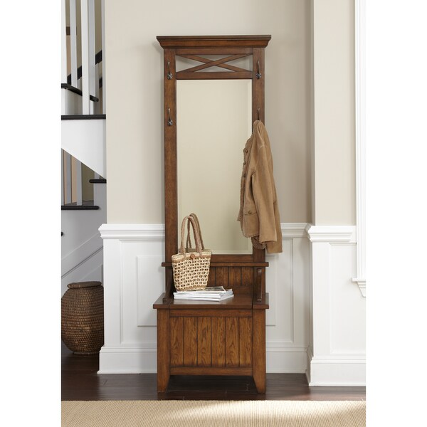Shop Hearthstone Rustic Oak Mirrored Hall Tree Free