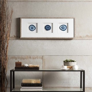 Madison Park Blue Agate Trio Stone Framed Graphic
