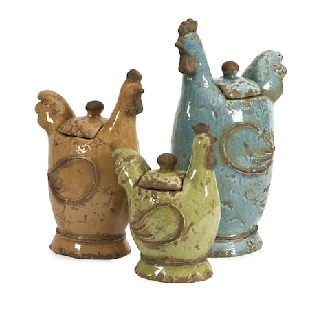 Cherda Lidded Roosters (Set of 3)