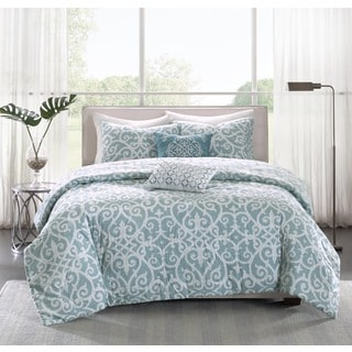 Madison Park Pure Lucia 5-piece Cotton Percale Reversible Duvet Cover Set - Thumbnail 0