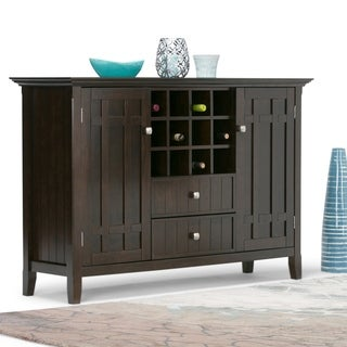 WYNDENHALL Freemont Solid Wood 54 inch Wide Rustic Sideboard Buffet Credenza and Winerack in Dark Tobacco Brown