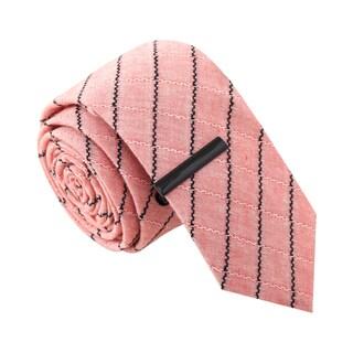 Skinny Tie Madness Men's Stripe Tease Salmon Skinny Tie with Tie Clip