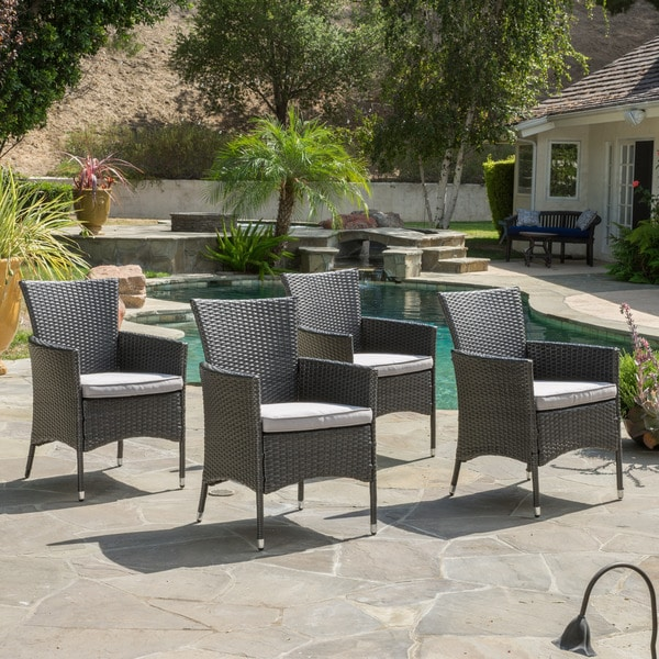 Malta Outdoor Wicker Dining Chair With Cushions (Set Of 4) By Christopher  Knight Home   Free Shipping Today   Overstock.com   17643510