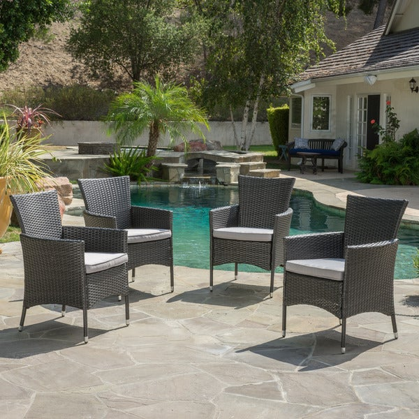 Malta outdoor wicker dining chair with cushions set of 4 for Home goods patio furniture