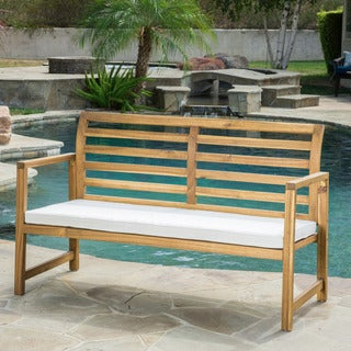 Emilano Outdoor Acacia Wood Loveseat Bench with Cushion by Christopher Knight Home