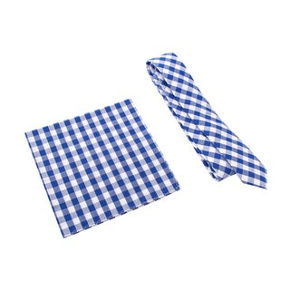 Skinny Tie Madness Men's Blue Gingham Plaid Skinny Tie with Pocket Square