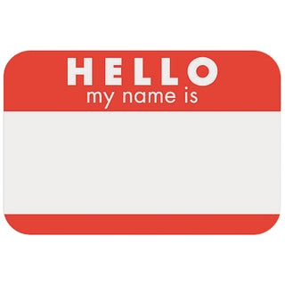 SelfAdhesive Name Tags 2.25inX3.25in 100/PkgHello Red