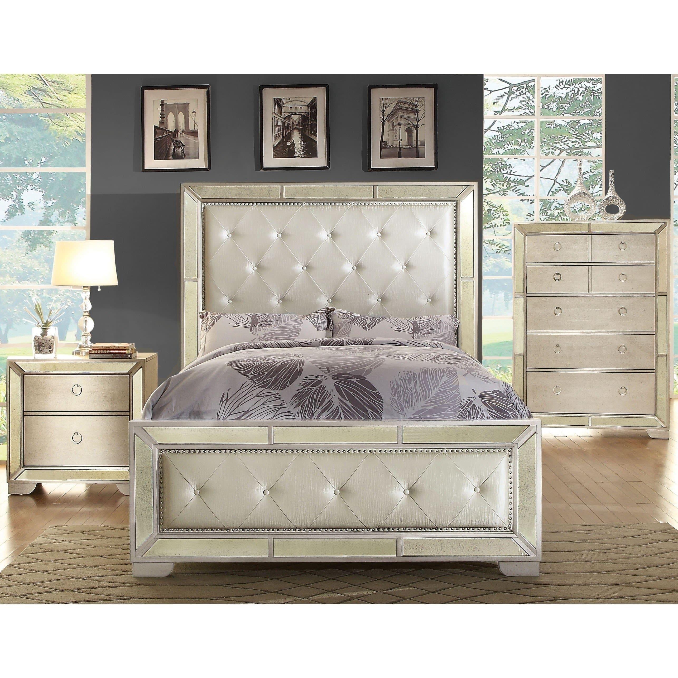 Furniture Of America Gevi Modern Mirrored 3 Piece Bedroom Set On Sale Overstock 10566132 Eastern King