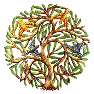 Handmade 24-Inch Painted Tree of Life Metal Wall Art (Haiti)