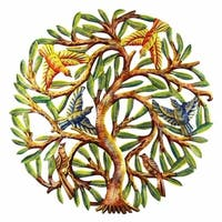 Handmade 24-Inch Painted Tree of Life Metal Wall Art (Haiti)