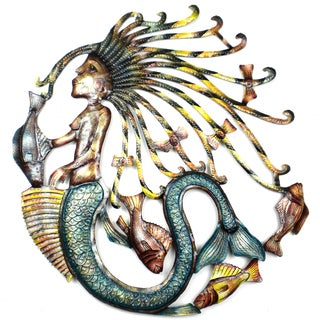 Handmade 24-Inch Painted Mermaid Metal Wall Art (Haiti)