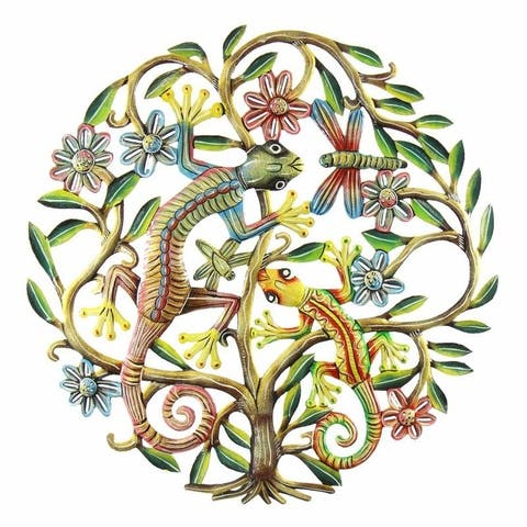 Handmade 24-Inch Painted Tree of Life with Geckos Metal Wall Art (Haiti)