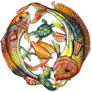 Handmade 24-Inch Painted Two Leaping Fish Metal Wall Art (Haiti)