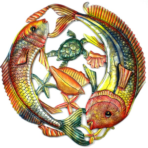Handmade 24-Inch Painted Two Leaping Fish Metal Wall Art (Haiti). Opens flyout.