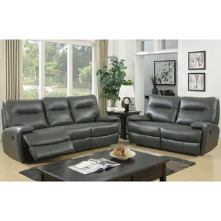 Furniture of America Taya 2-piece Leath-aire Reclining Sofa Set