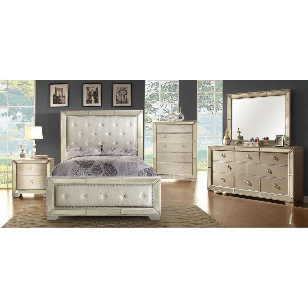 Furniture of America Maxine Modern Silver Mirrored 5-draw...