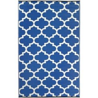 Fab Habitat Indoor/Outdoor Rug Tangier - Regatta Blue & White (3' x 5')