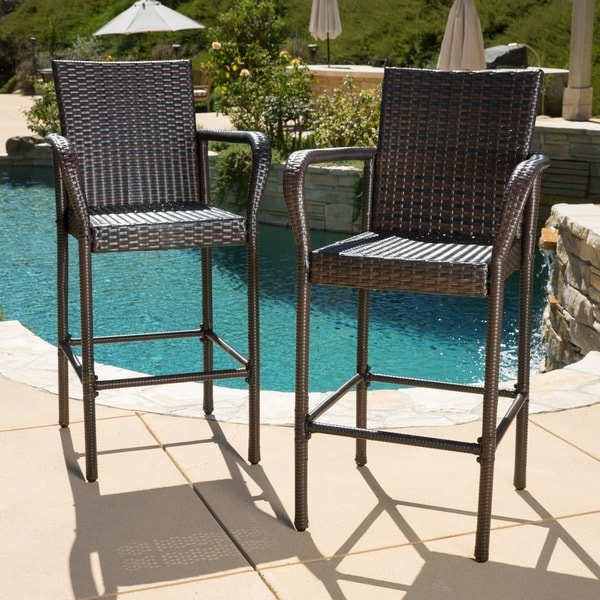 delfina outdoor wicker bar stool set of 2 by christopher knight home free shipping today - Outdoor Set