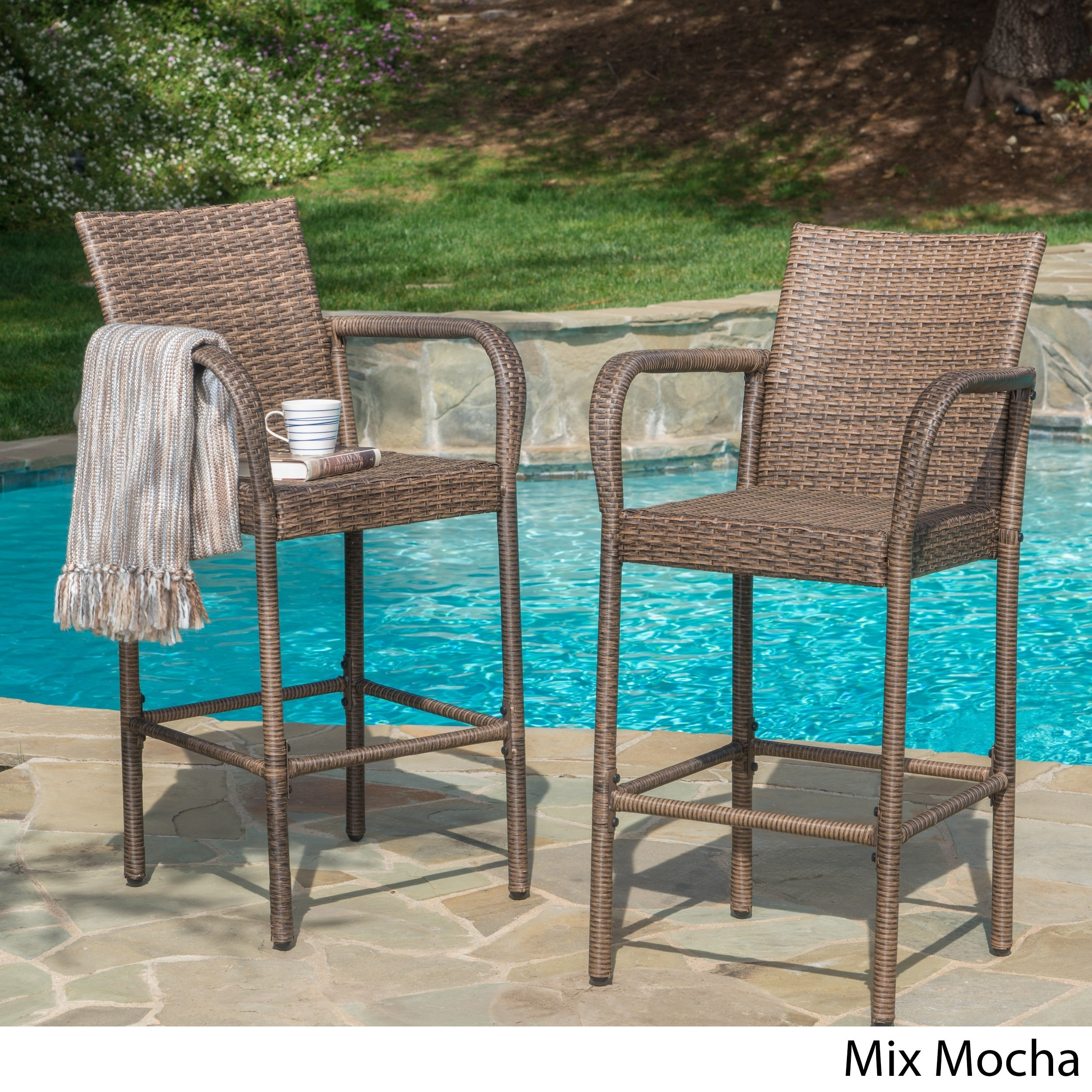 Delfina Outdoor Wicker Bar Stool (Set of 2) by Christophe...