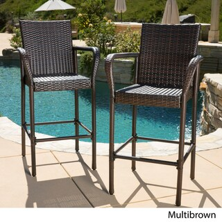 Clay Alder Home Fairfax Outdoor Wicker Bar Stool (Set of 2) (3 options available)