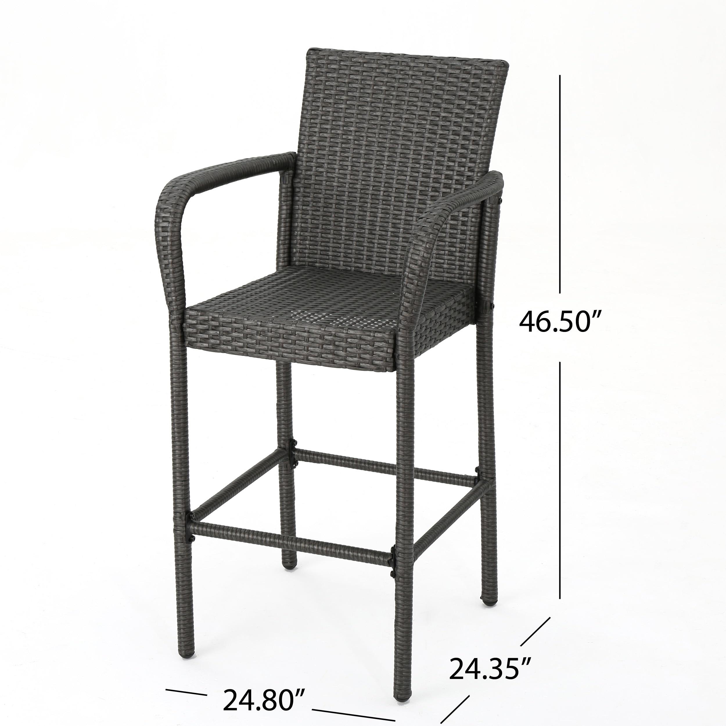 Terrific Delfina Outdoor Wicker Barstool Set Of 4 By Christopher Knight Home Machost Co Dining Chair Design Ideas Machostcouk
