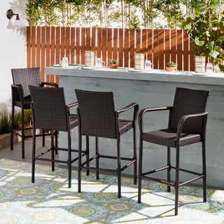 Delfina Outdoor Wicker Barstool (Set of 4) by Christopher Knight Home (3 options available)